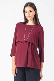 Crepe Umstands- und Stillbluse bordeaux