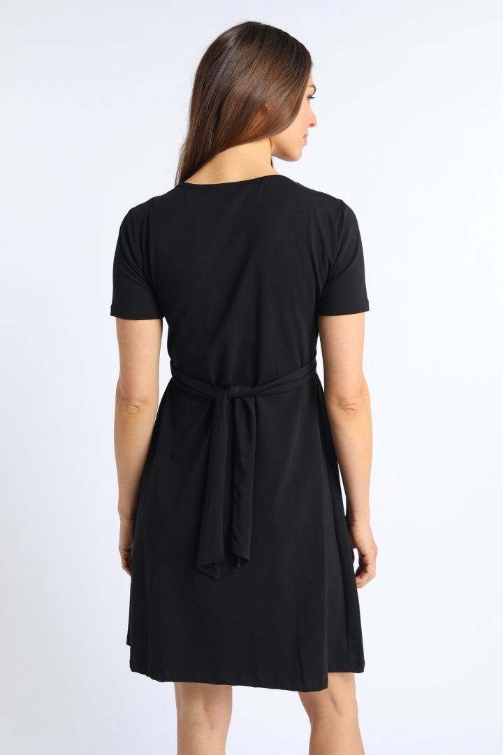 Maternity and Nursing Wrap Dress black