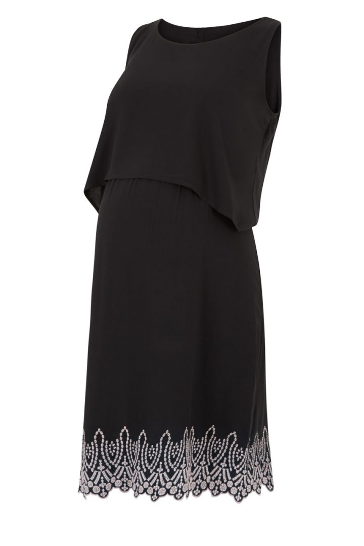 Woven Embroidered Maternity & Nursing Dress