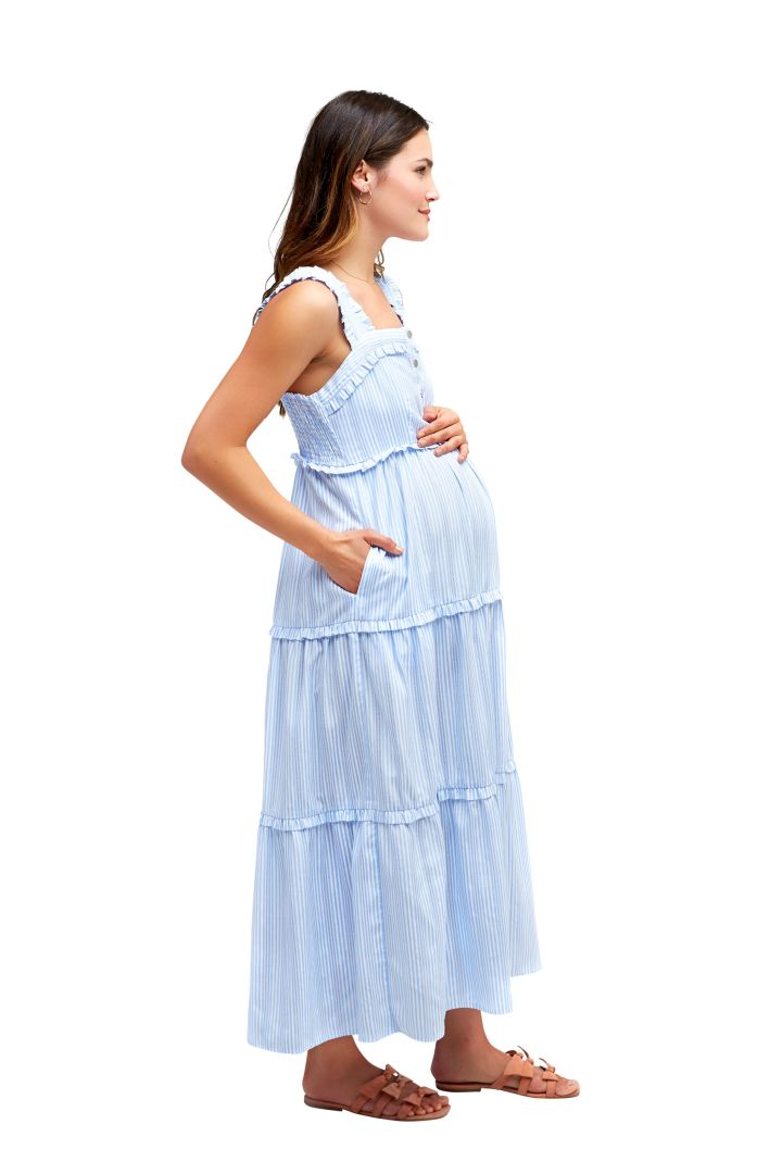Maternity and Nursing Dress with Pleated Skirt and Vest Top