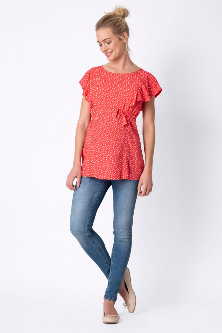 Spotted Maternity and Nursing Blouse with Ruffle Sleeves