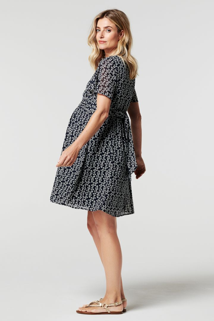 Chiffon Maternity Dress with Short Cap Sleeves and Flower Print