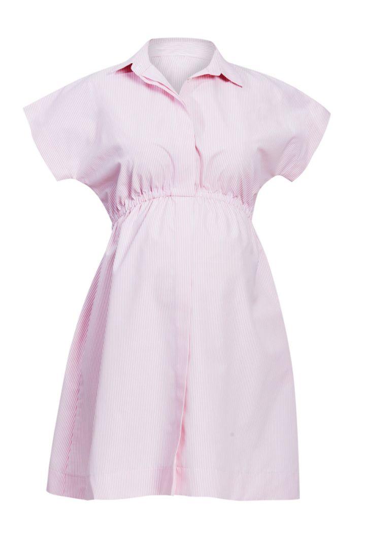 Streifen Umstands-Hemdblusenkleid rosa