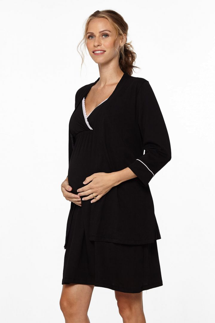 Maternity and nursing nightgown with dressing gown, black