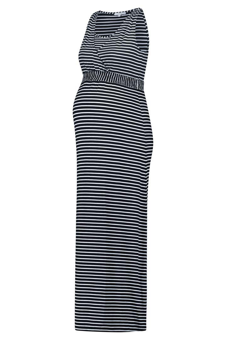 Maxi Umstands- und Stillkleid mit Streifen