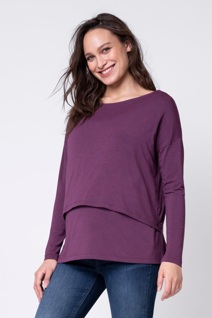 Two-layer Maternity and Nursing Shirt Long Sleeve bordeaux