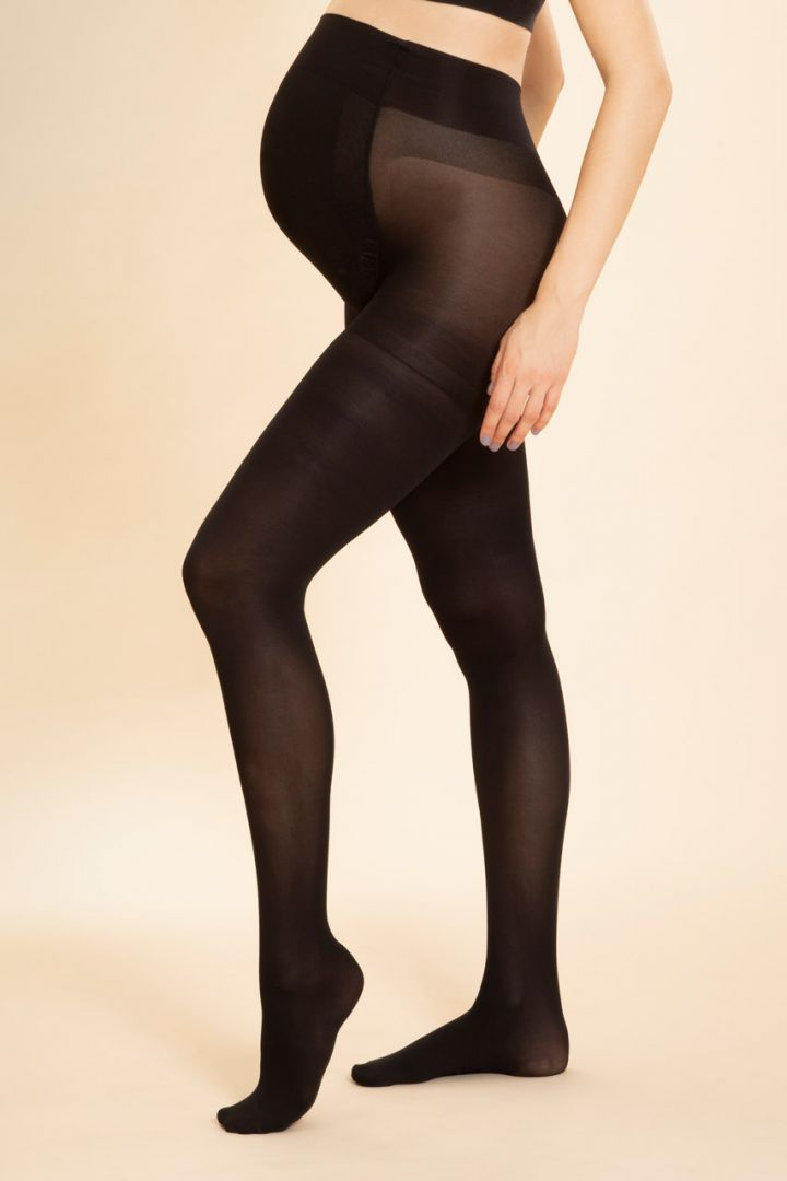 Seamless Maternity tights with support function 70 den, black