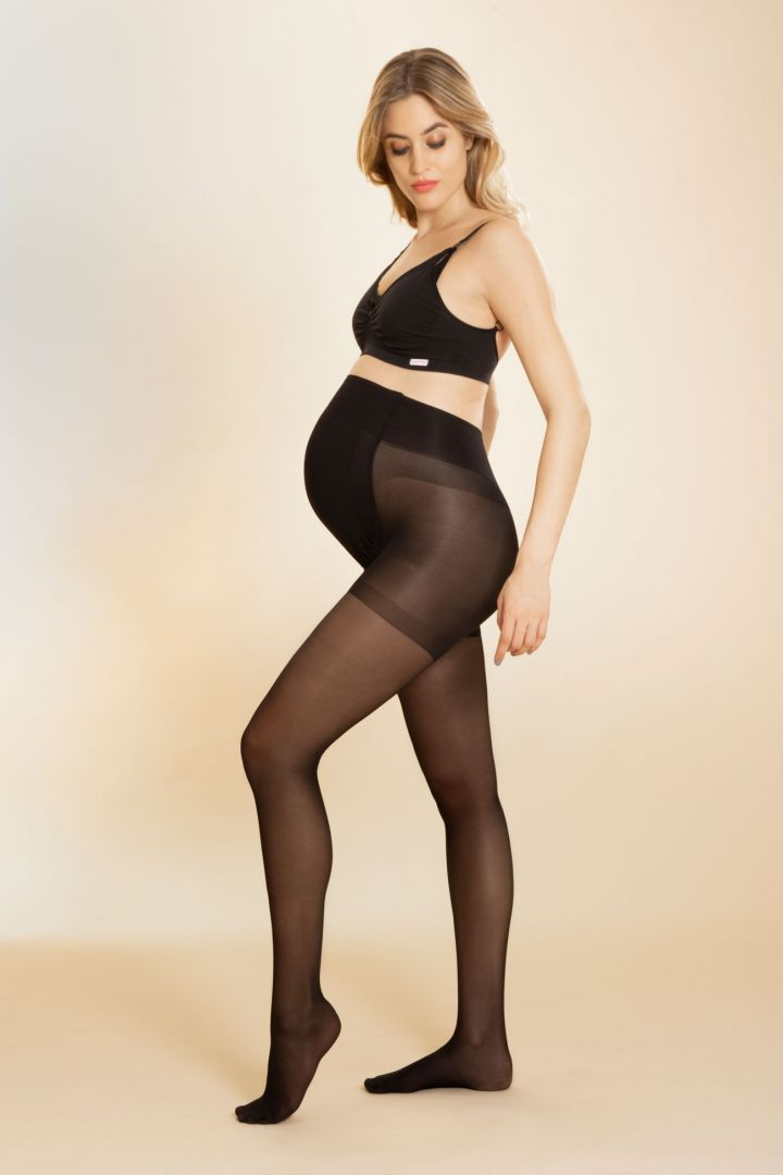 Seamless Maternity tights with support function 30 den, black