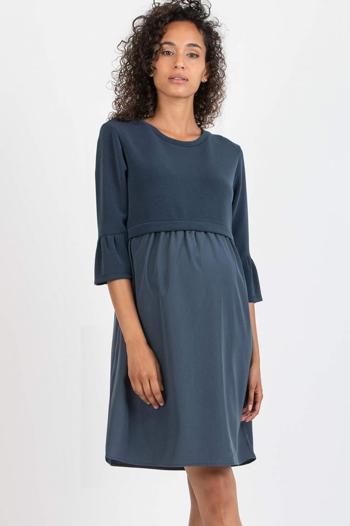 Maternity Dress with Trumpet Sleeves denim
