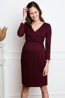 Cross-Over Umstands- und Stillkleid bordeaux