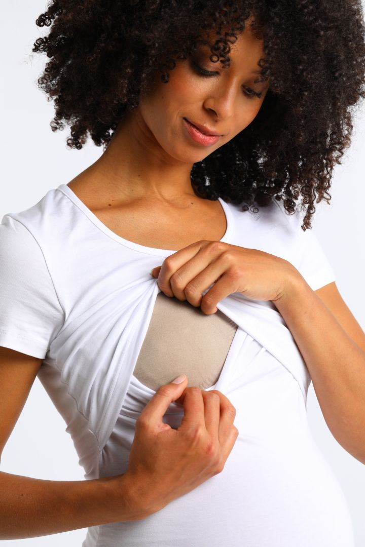 Umstands- und Stillshirt aus Bio-Baumwolle kurzarm weiß
