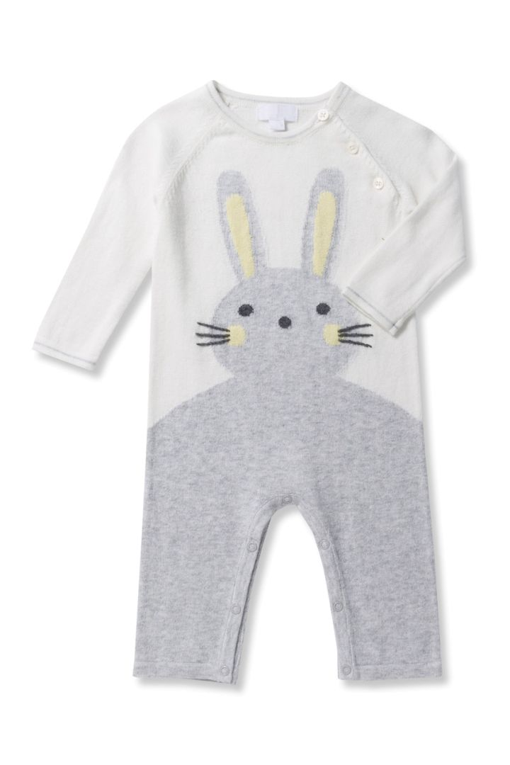 Knitted bunny romper grey