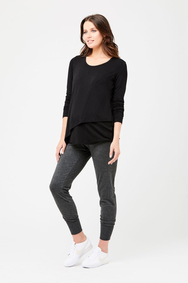 Maternity and Nursing Long-Sleeve Shirt black