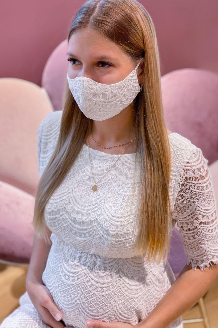 Braut Mundschutzmaske aus moderner Spitze mit Armbeutel