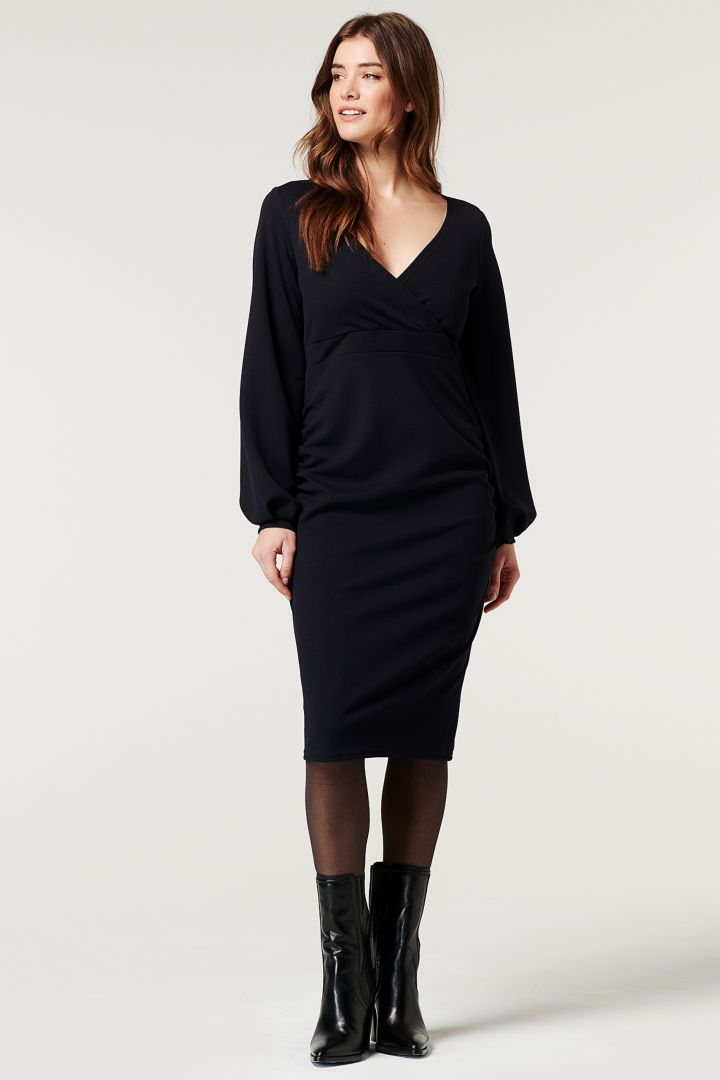 Eco Maternity and Nursing Dress with Balloon Sleeves