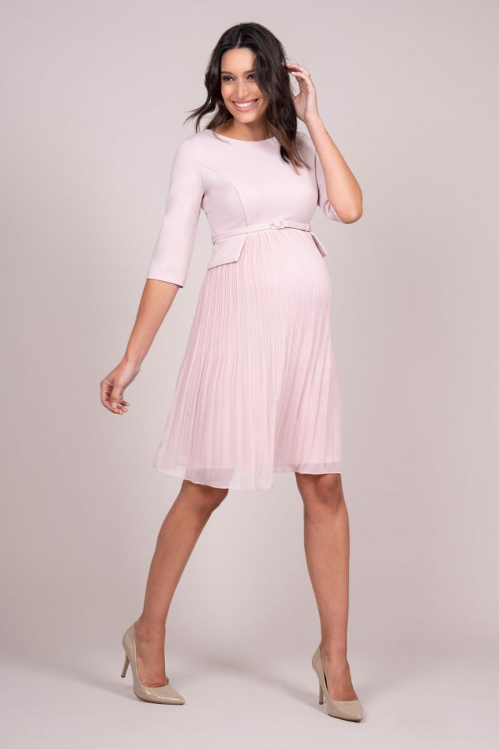 Maternity Dress with Pleated Skirt, pink