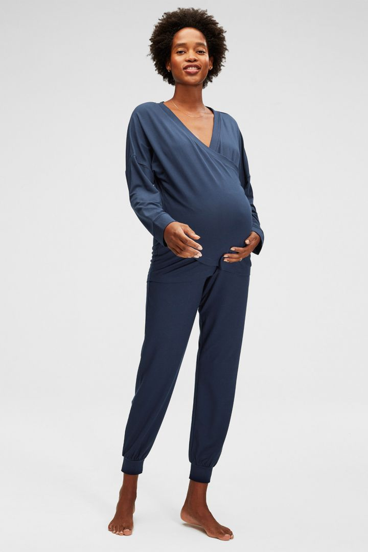 Cross-Over Maternity and Nursing Pyjama Shirt indigo