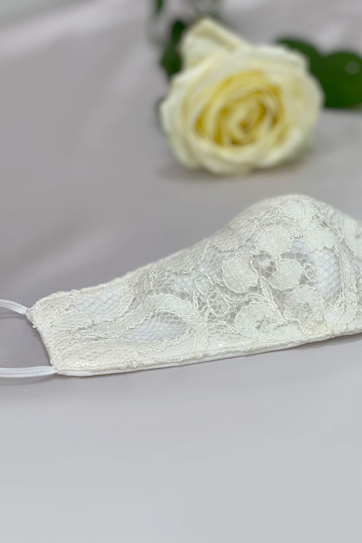 Bridal Face Mask with Vintage Lace and Pouch