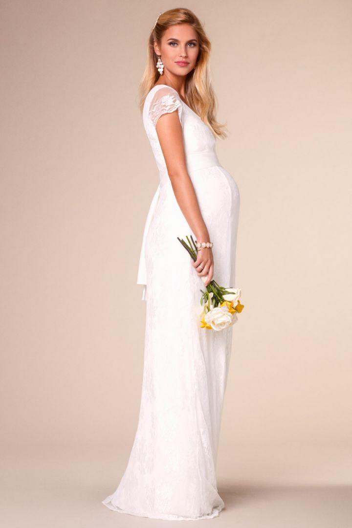 Long maternity and nursing lace wedding dress