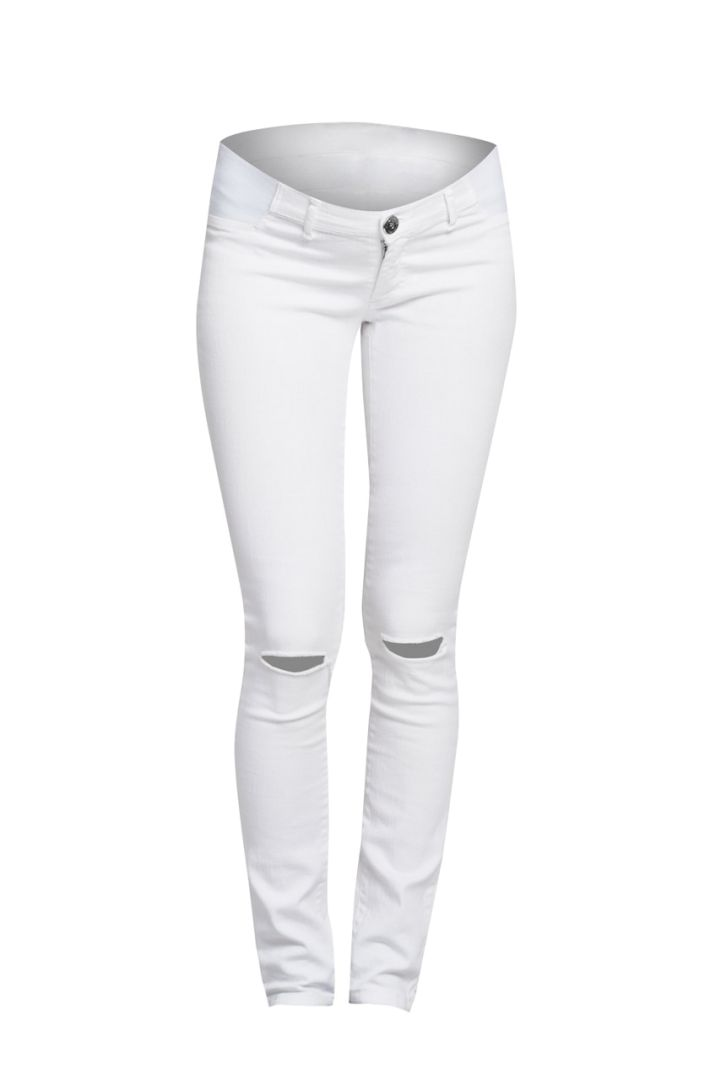 Ripped maternity jeans white