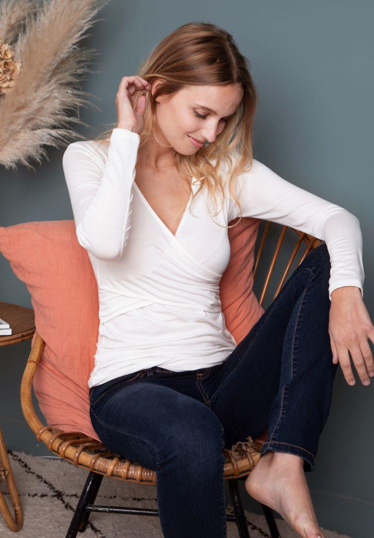 Ecovero Langarm Cross-Over Umstands- und Stillshirt off-white