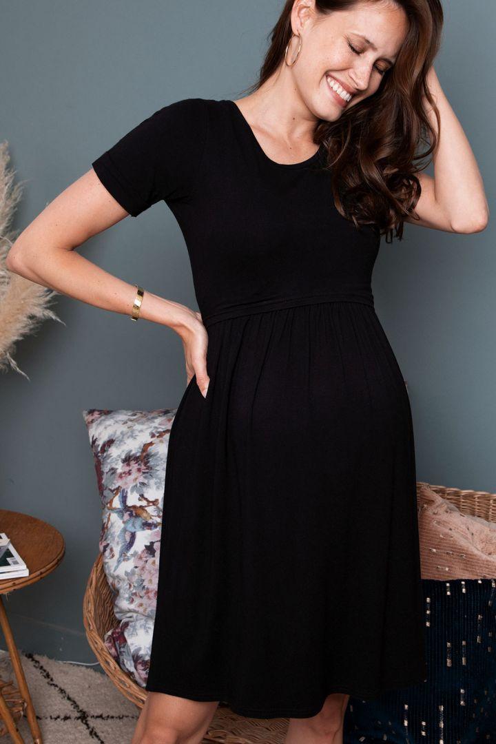 Short-Sleeved Maternity and Nursing Dress black