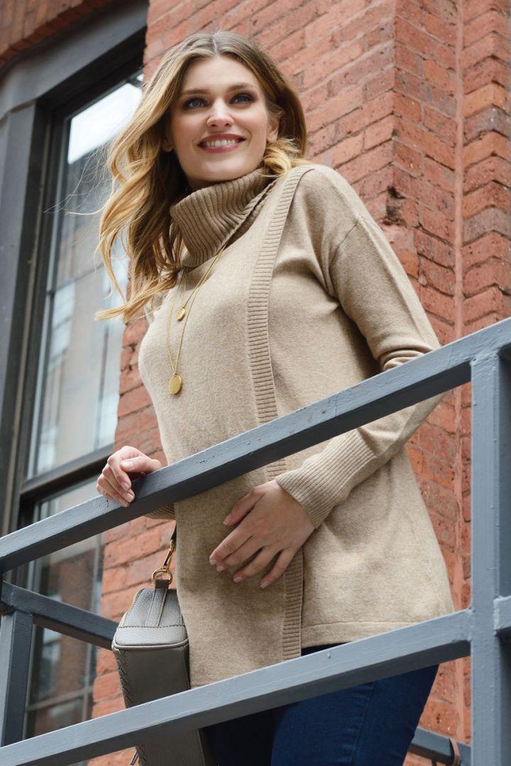 Maternity and Nursing Turtleneck Pullover