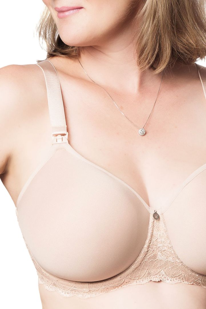 Full cup spacer nursing bra with lace