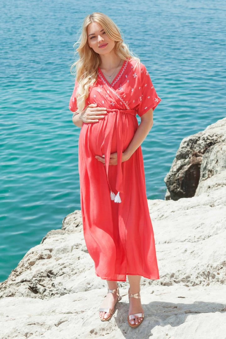 Maternity and Nursing Dress with Bow