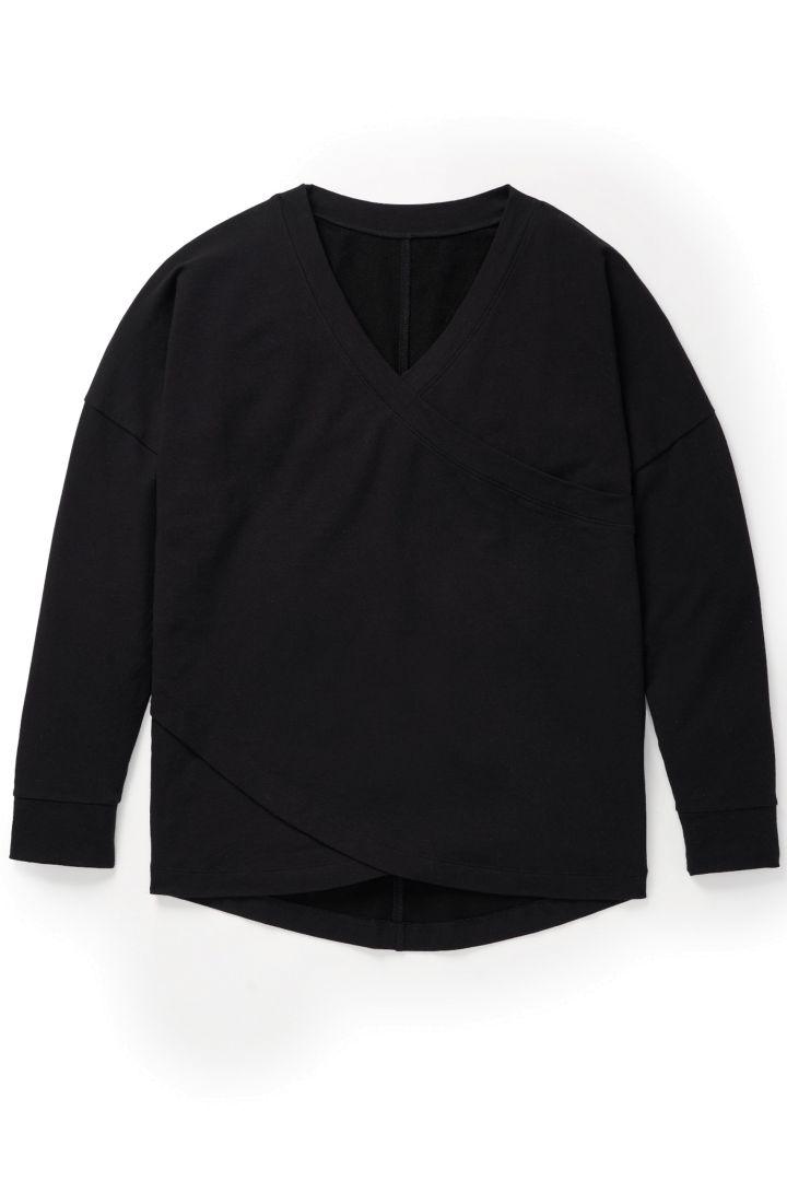 Cross-Over Lounge- und Pyjama Umstandshirt schwarz