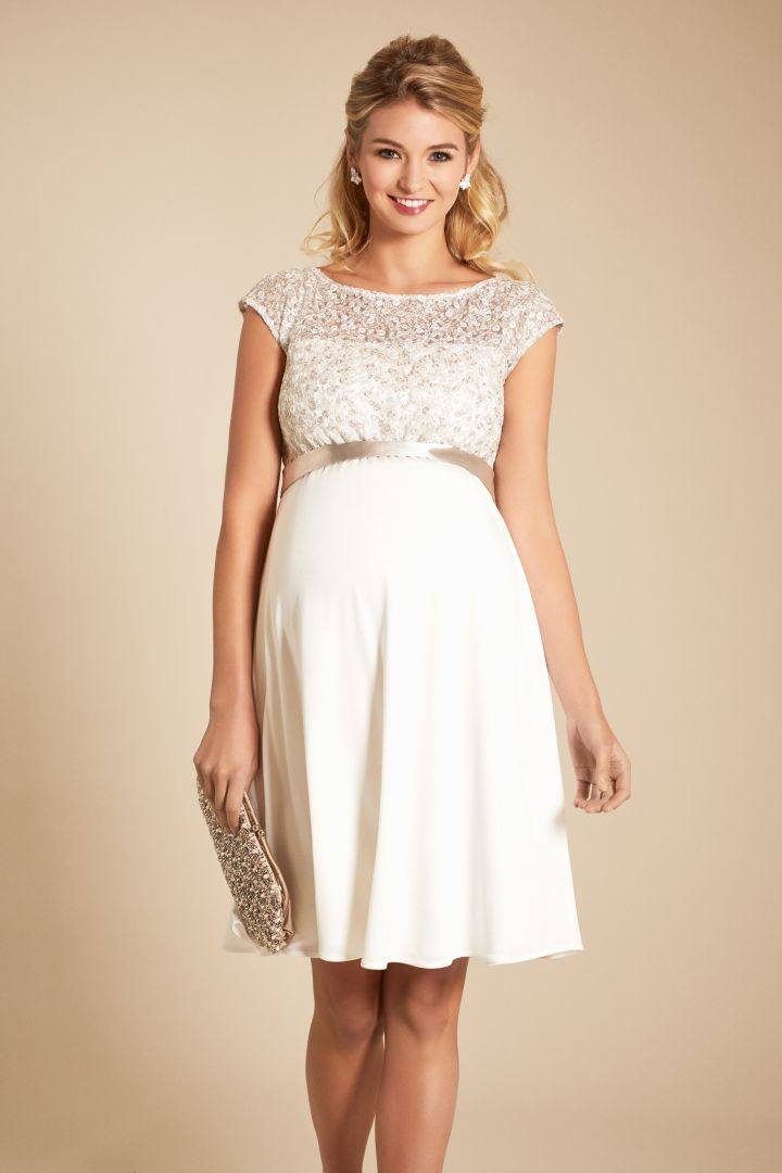 Maternity wedding dress with sequined top