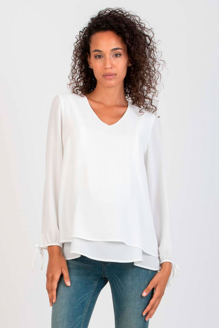 Layered Maternity and Nursing Blouse with Twisted Detail white