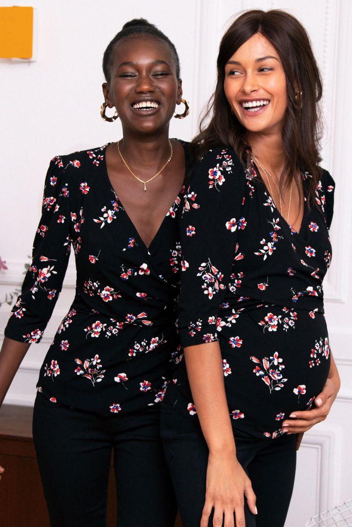 Cross-Over Maternity and Nursing Shirt black/print