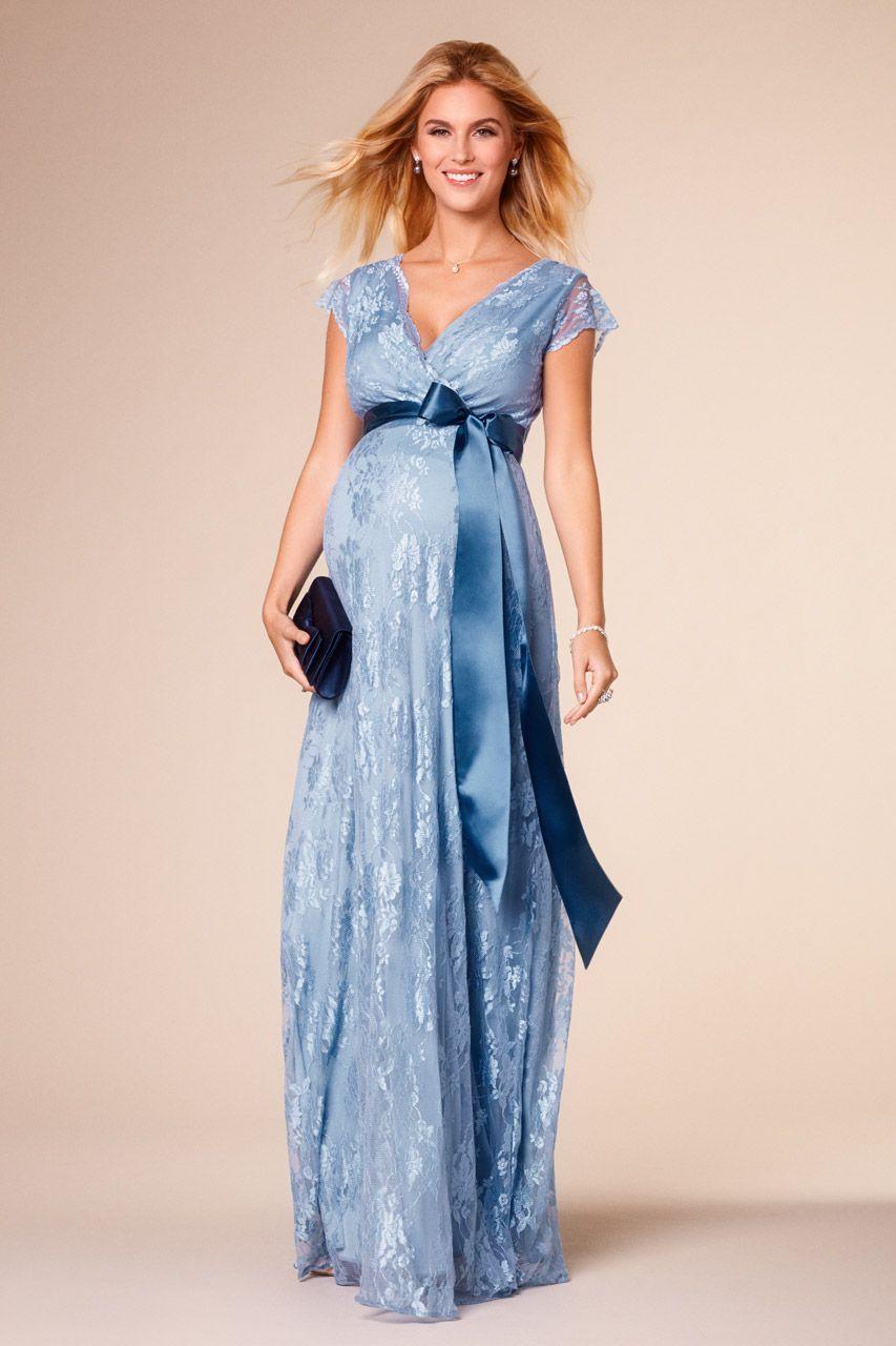 Long Eden maternity dress light blue | Long Dresses | Maternity ...