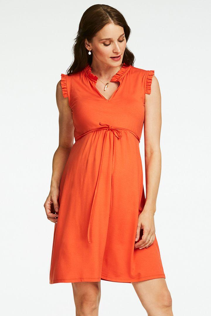 Jersey Maternity Dress with Ruffles
