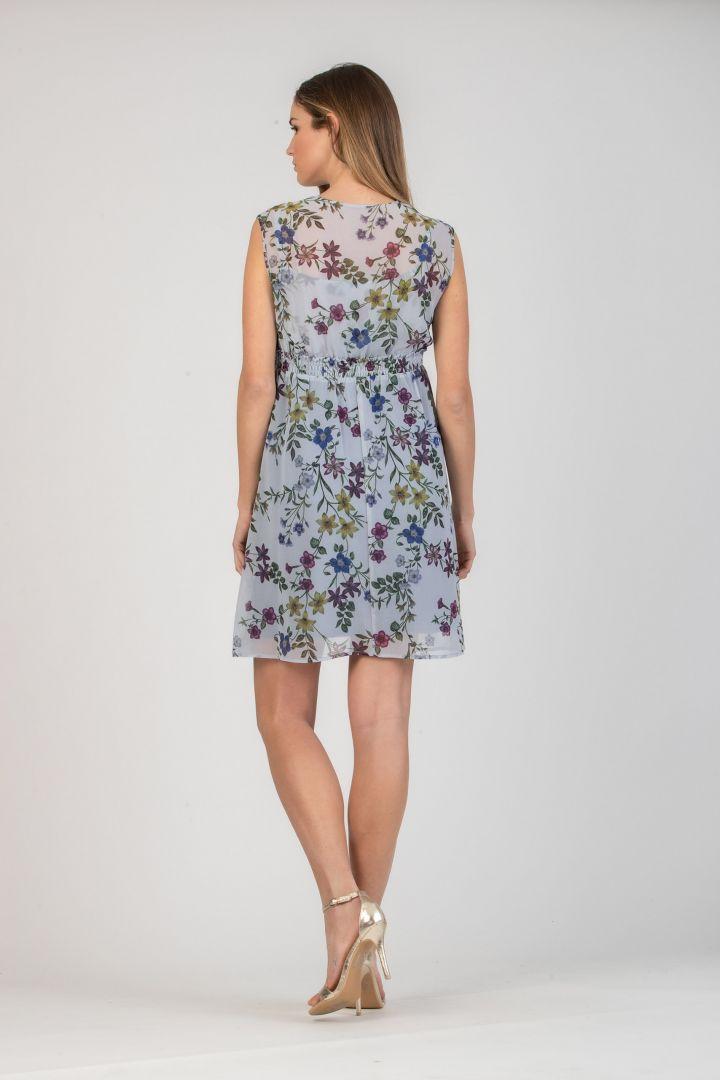 Chiffon Umstands- und Stillkleid mit Blumenprint