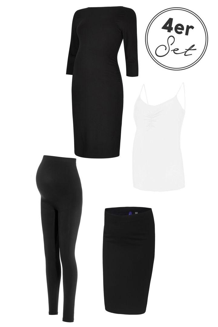 4-teiliges Umstandsmode Basic Set Kleid, Rock, Leggings, Top