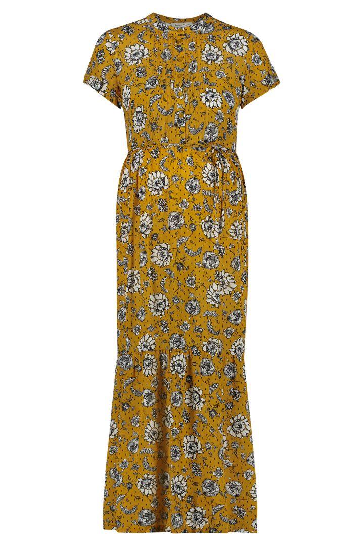 Maxi Umstands- und Stillkleid mit Sonnenblumen Print