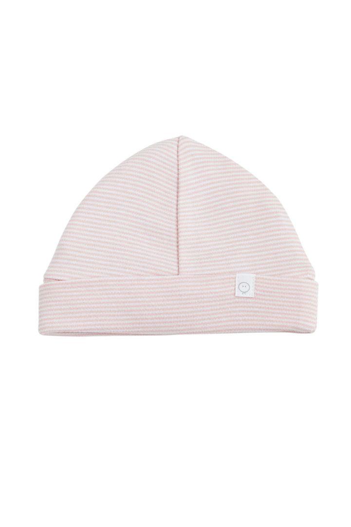 Organic striped baby hat pink