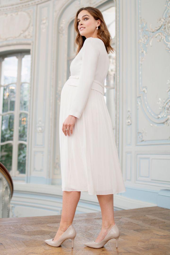 Umstandsbrautkleid mit Plisseerock weiß