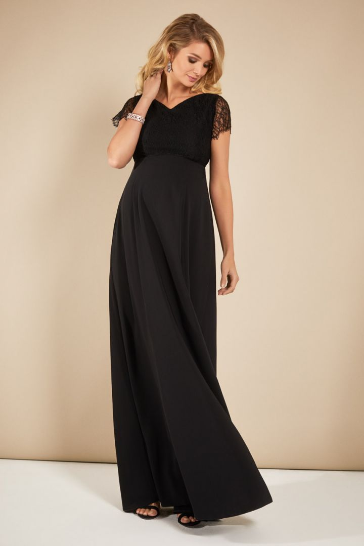 Maternity dress with lace top long black