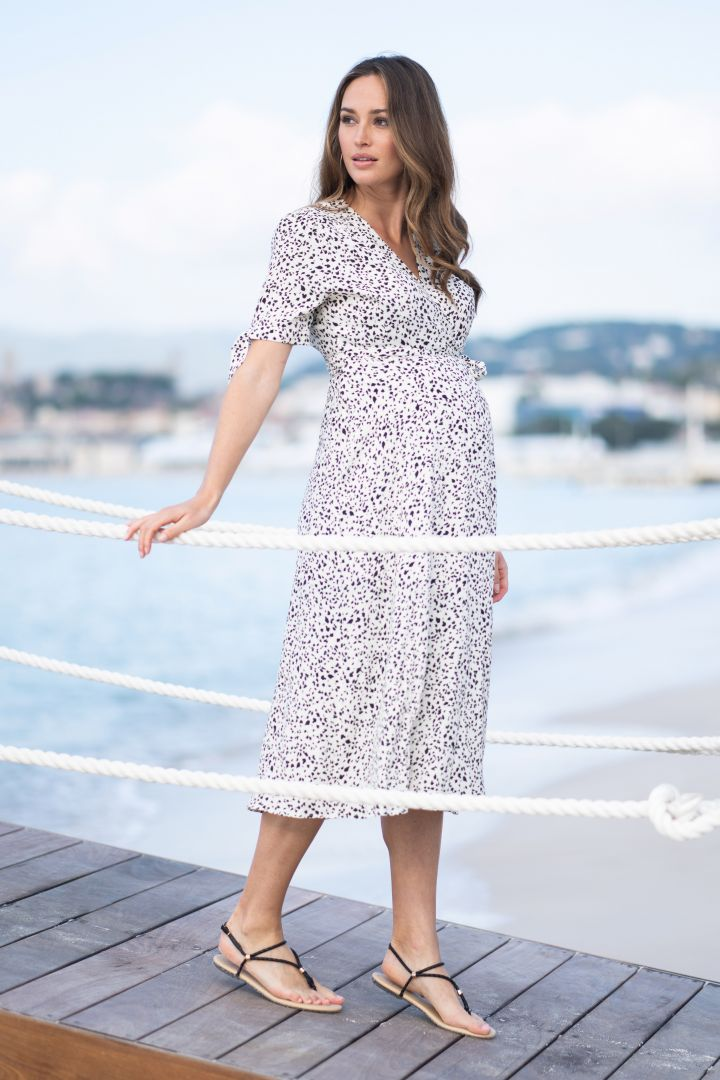 Midi Maternity and Nursing Wrap Dress