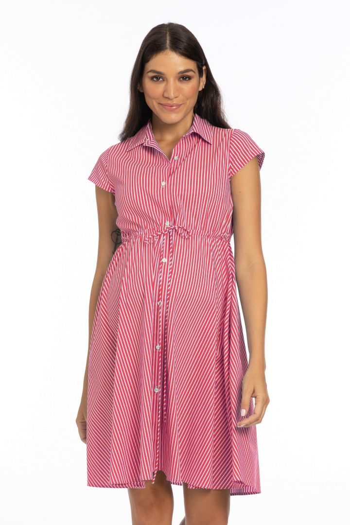Maternity and Nursing Shirt Dress striped red