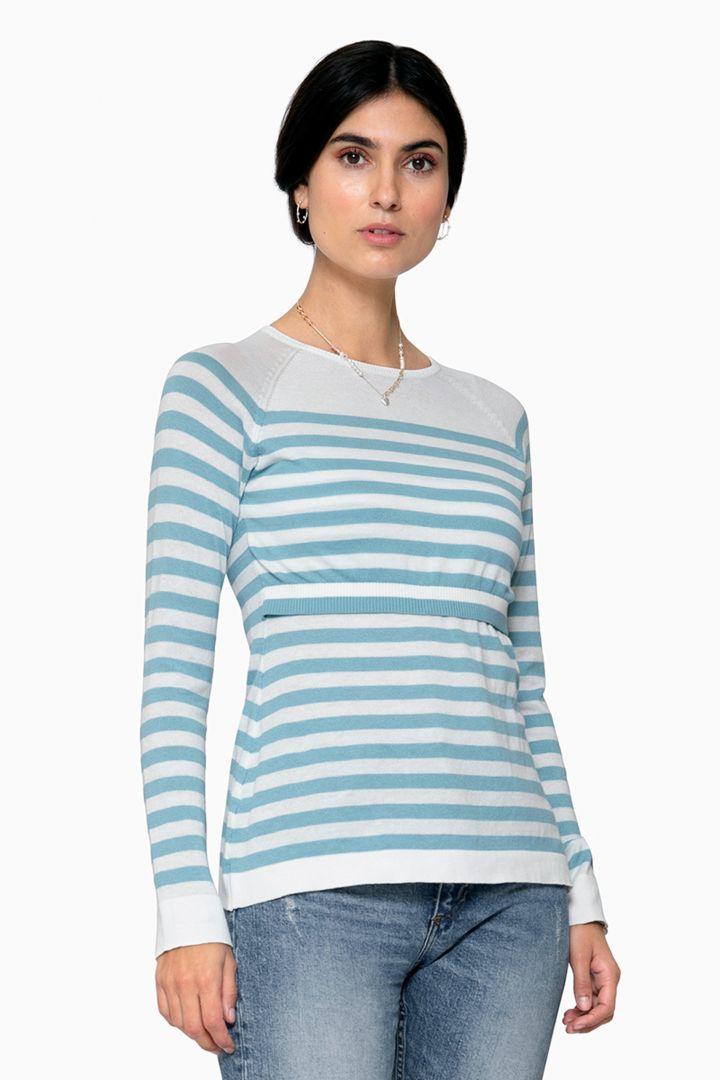 Organic Maternity and Nursing Jumper light blue/white