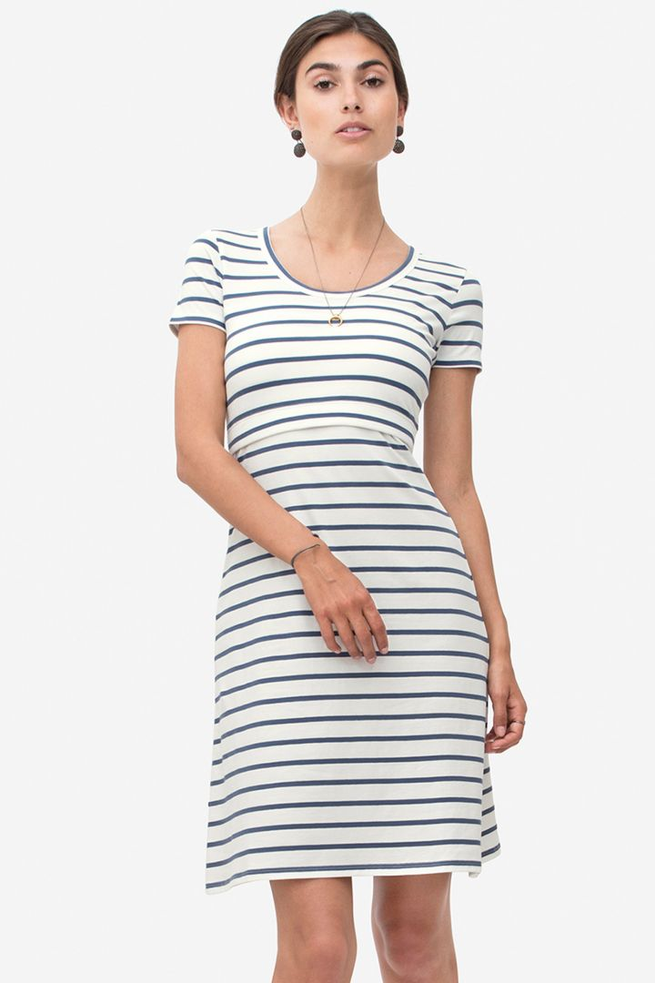 Striped maternity and nursing dress made from organic cotton blue