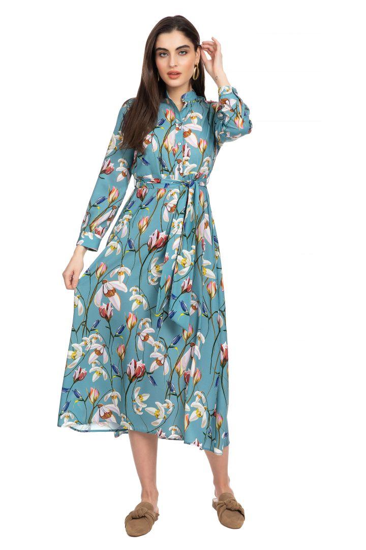Maternity and Nursing Midi Dress with Flower Print
