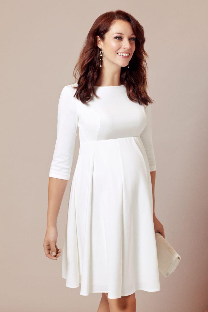 Maternity wedding dress with submarine neckline