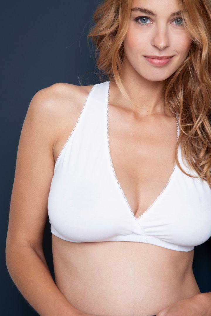 Organic Sleep Nursing Bra with Lace Back white