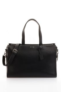 Satchel Wickeltasche aus Leder schwarz