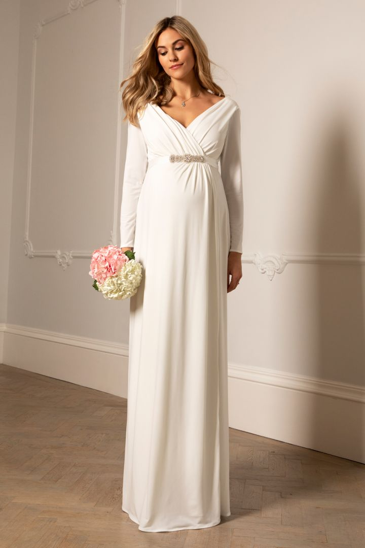 Maternity Wedding Gown with Cache Coeur Neckline